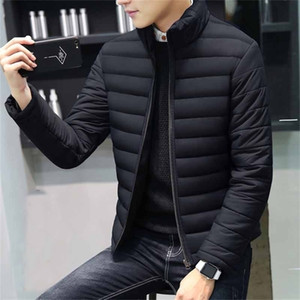 Fashion men's down coat thickened warm youth winter cotton coat casual solid color stand collar gray goose down jacket parka 201225
