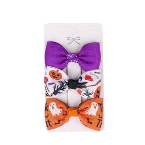 Girls Hair Accessories Clips Kids Barrettes Baby BB Clip Children Halloween Bow Hairpin Ribbon Print 3Pcs Sets B8208