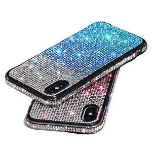 럭셔리 블링 반짝이 스파클 케이스 크리스탈 유리 전체 다이아몬드 범퍼 2 iPhone 12 11 Pro XR XS Max X 8 Plus Samsung S10 S20 Fe S21 Ultra