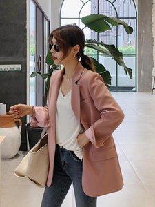 Женские костюмы Blazers 2021 Весна и осень Ins Suit Куртка Корейский досуг средняя длина розовый Гонконг стиль ретро шикарно