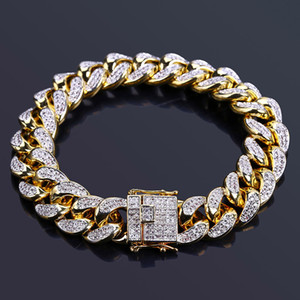 "New 14MM Cuban Link Bracelets Hip Hop Jewelry Gold Silver Color gold Plated Copper Material Iced Out CZ Chain Bracelets 7""8"""