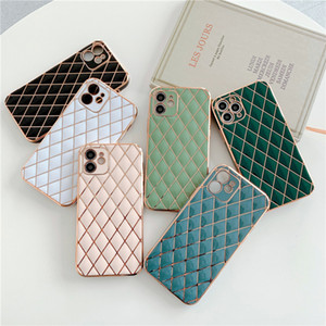 Lambskin 6D Electroplated Full Lens Proction Soft TPU Phone Case for iPhone 12 11 Pro Max XR XS X 7 8 Plus