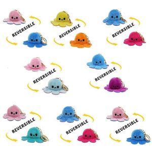 Factory5NL4Key Octopus Keychain Metal Reversible Ring Plush Flip Doll Toys Bag Animal Pendants Double-Sided Emotion Toy C