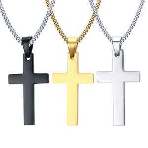 2021 Mens Stainless Steel Cross Pendant Necklaces Men s Religion Faith crucifix Charm Titanium steel chain For women Fashion Jewelry Gift
