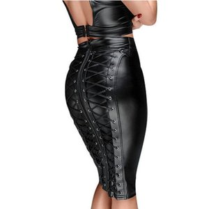 Skirts Womens Knee Length Wet Look Plus Size Black PU Leather Skirt 2021 Back Lace Up Zipper Bandage Bodycon Faux Ladies