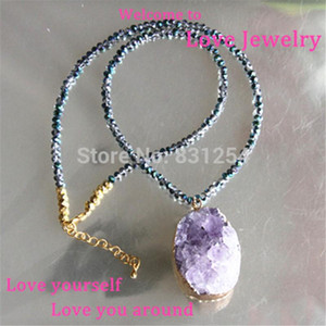 1pc Natural Purple Quartz Drusy Pendant Necklace Charm Beads Chain Druzy Stone Necklace Jewelry Statement