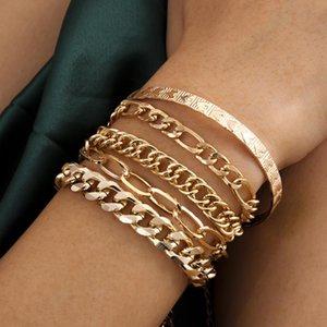 DVACAMAN Vintage Charm 5pcs / set Cadena hueca borla pulseras Mujeres moda simple en forma de corazón en forma de brazaletes de metal joyería 2021 recién