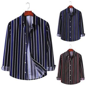 Мужские повседневные рубашки Весна Мужская Рубашка Печатка Полосатый Длинные Рукавы Топы Кнопка Уличная Одежда Досуг Мода CamiSas Hombre