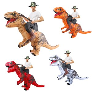 Fancy Mascot Dinosaur Inflatable Costume for Adult Man Woman Ride on Dino Costumes Halloween Cosplay Dress Christmas T-rex Suit