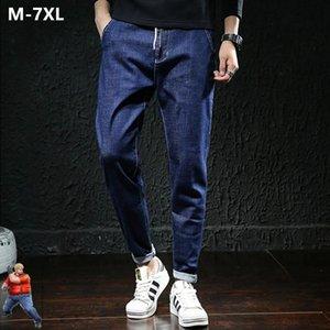 Men's Jeans Oversized Men Pencil Black Pants Plus Size 6XL 7XL Blue Denim Trousers Mens Fashion Regular Fit Stretch Big Large Clothes