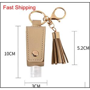 Hand Sanitizer Bottle Cover Pu Leather Tassel Holder Keychain Protable Keyring Cover Storage Bags Home Stor qylKLJ bdetoys