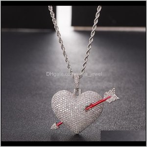 Iced Out Arrow Through Heart Necklace Pendant With Rope Chain Gold Color Bling Cubic Zircon Men Hip Hop Jewelry Pl6Sd K4Rig