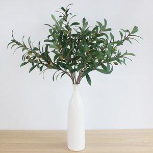 الزهور الزخرفية أكاليل 3 قطع الأخضر الاصطناعي الزيتون الفروع محاكاة مصنع الفاكهة يترك المنزل الزفاف وهمية
