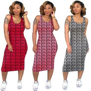 Abbigliamento Summer Scoop Neck Money Stampato Mid Calf Bodycon Dresses Fashion Fashion Casual Skirt Gonna Night Party