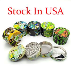 Сток в США 120 / коробка Shipstone Herb Terb Mall Металлический цинковый сплав табака Травяные шлифовалы 4 слоя 50/55 мм Диаметр