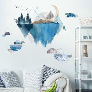 [Shijuekongjian] Ríos Montañas Pegatinas de Pared DIY Árbol Pájaros Mural Calcomanías para la sala de estar Dormitorio Decoración de la casa 210308