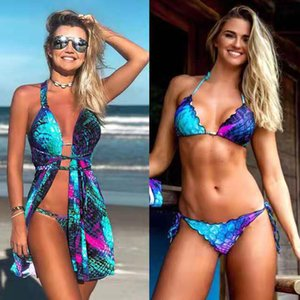 Women Clothing Set Beach 2021 for Bikini Summer New Gradual Fish Scale Neck Strap Swimsuit Three Piece Suit Print Polyester Nj88