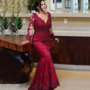 긴 소매 레이스 인어 신부 드레스의 어머니 2021 Robe de Soirée de Mariage 화려한 빨간색 공식적인 저녁 신랑 가운