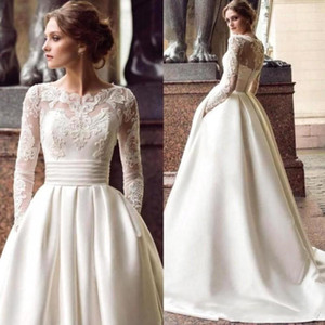 Newest Elegant White A Line Wedding Dresses with Pockets Satin Appliqued Long Sleeve Bridal Gowns Customized Formal Long Robe De Mariee