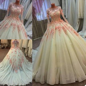 Gorgeous Long Sleeves Wedding Dresses with 3D Floral Applique Handmade Flowers Scoop Neck Sweep Train Custom Made Wedding Bridal Gown