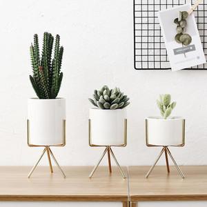 3 teile / satz Nordic Style Keramik Blume Pflanzgefäße mit Eisen Regal Sukkulenten Pflanze Topf Home Dekorative Blume Vase Gold ohne Loch