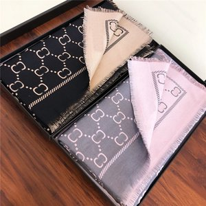 Double Color Letter Jacquard Scarves Soft Touch Wool Wraps Ladies Warm Winter Shawls Thick 2 Side Pashmina