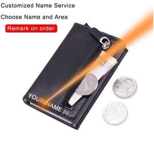 Dienqi Carbon Rfid Credit Card Holder Men Leather Metal Wallets Slim Coin Holder Bank Cardholder Case Travel Minimalis qylsDx