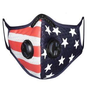 Дыхательный клапан маска пылезащитный дышащий сетчатый фильтр американский флаг маски Открытый моющийся со спортивными фильтрами 3-5 дней Быстрая доставка