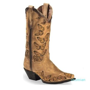 Boot 2021 Autumn and Winter Women Fashion Pu Embroidered Butterfly 's Shoes Comfortable Selling Boots