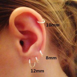 Fashion 925 Sterling Sier For Women Mini Small Hoop Ear Bone Buckle Round Circle Earrings 8mm-20mm aretes