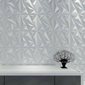 Art3D 50x50cm ПВХ 3D Настенные панели Алмаз для внутренних стен Декор в белых стенах Декор Обои Пакет из 12 плиток
