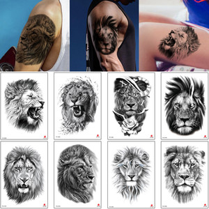 Lion Tattoo Sticker Sketch Temporary Body Makeup Cruel Forest King Animal Decal Black Realistic Waterproof for Woman Man Arm Inspired