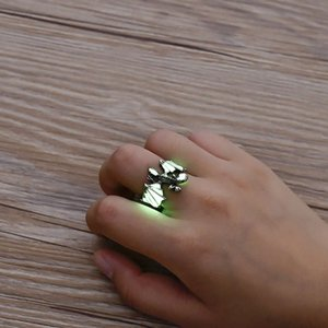 Men's domineering luminous pterosaur ring with adjustable opening