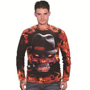 Mens Hoodie Autumn And Winter Mens Sweatshirt T-shirt Long Sleeve Clothes 3D Digital Printing Weater Skull