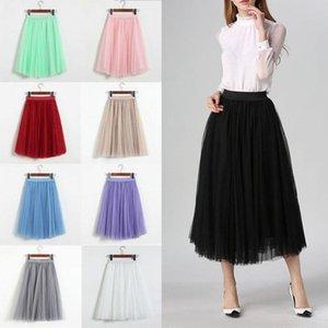 Skirts Hirigin Women Elastic Waist Tutu Tulle Long Prom Party Mesh Chiffon Pleated Double Beach Skirt