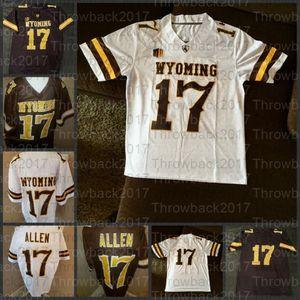 Vaqueros Wyoming de los hombres Jersey de fútbol marrón y blanco Josh # 17 Allen Jersey Adulto S-3XL College Football Jersey