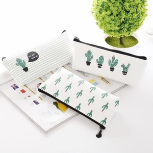 Creative Cactus Pencil Case Purse Canvas Portable Pen Money Wallet Stripe Zipper Pouch Pocket Keyring Gift Pencil Bag LLS711