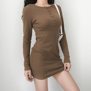 Dresses Slim Long Sleeve O-neck High Waist Ladies Dress Casual Skinny Solid Color Woman Bodycon Dress with Button Summer Women