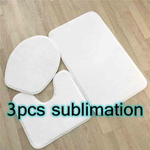 3pcs Sublimation Bath Rugs Set Anti-Slip Bath Mat Toilet Cover U-Shaped Toilet Mat Lid Cover Absorbent Bath Rugs Contour Mat By AIR A15