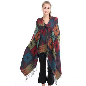 الأوشحة 2021 الأزياء نمط وطني المرأة المعطف البوهيمي مقنع معطف الخريف الشتاء شالات و يلف بونشوس y capas موهير وشاح طويل