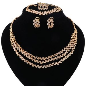 African Beads Jewelry Set Dubai Gold Color Crystal Women Wedding Party Three layers Necklace Earring Fine Jewelry Sets