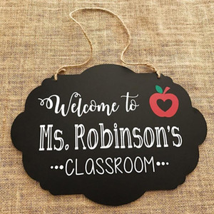 Pendurado Wooden Black Board Ornamento decorativo Dupla face Eraseable Message Mensagem WordPad Porta de Casa Pingente Decoração 1 PC