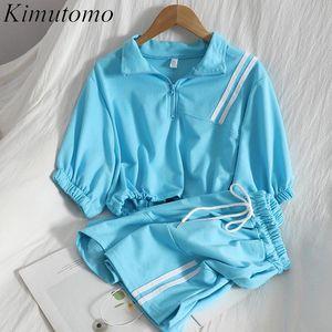 Women's Tracksuits Kimutomo Casual Fashion Women Suits Summer Korean Zipper Turn-down Collar Slim Waist Top + Lace Up Shorts Contrast Two Pi