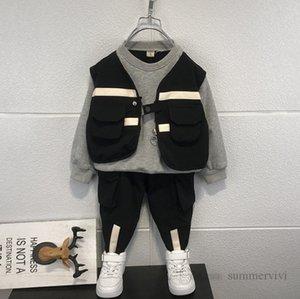 Autumn Boys clothing sets kids stripe waistcoat fake two piece sweatshirt+casual pants 2pcs fashion children sports outfits Q2271