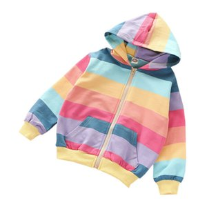 2020 Autumn Baby Girls Outerwear Rainbow Striped Casual Hoodie Zipper Sweatshirt For Kids Coat Outfits Children's Tops Y1223
