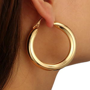 2021 New Punk Circle Earrings Women Alloy Gold Silver Earrings Hoop & Huggie Clothes Fashion Jewelry Gift