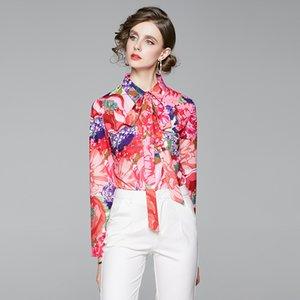 Quality Runway Printed Vintage Shirts Women 2021 Luxury Designer Ribbon Bow Office Ladies Elegant Shirt Spring Autumn Winter Long Sleeve Lapel Button Blouses Tops