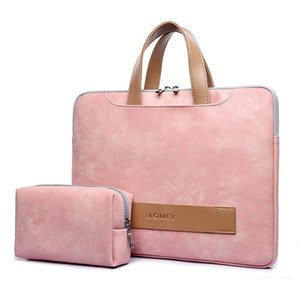 Women Portafolio Portable Briefcase Light Waterproof PU Leather Thin Notebook Bag 13 13.3 14 15 15.6 Inch for Macbook Pro Case 210306