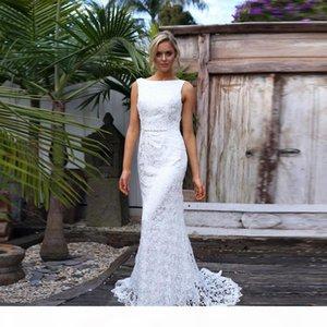 Charming Sheath Mermaid Wedding Dresses Pure Lace Design Bateau Neckline White Ivory Champagne Bridal Dress Sexy Backless