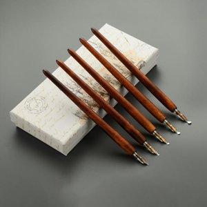 Fountain Pens Wooden Dip Literary Retro Thick Art Painting Graffiti Calligraphy Tibetan Gothic Font Pen